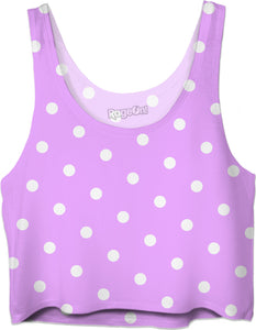 Purple, violet sexy Crop Top, asymetric polka dot pattern, white dots on pink fabric, vintage theme, classic girls shirt design.