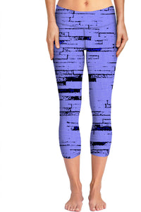 Purple and white bricks, lines pattern, old mural, wall theme yoga pants design.