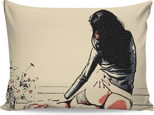 Flower Girl - sensual erotic, perfect girl in seducing lingerie, hot woman nude pillowcase