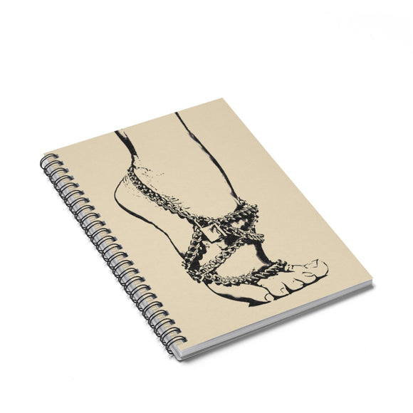 Spiral Notebook - Ruled Line - Owned, sexy submissive girls feet and chains