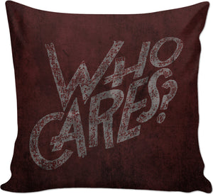 So... Who cares? Scarlet red, dark colors, wall art grafitti style couch throw pillow design