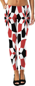 Red and black geometric theme leggings design, Harley Quinn style curves