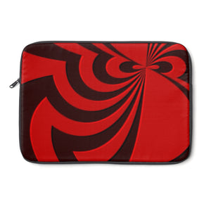 Laptop Sleeve, Carry Bag, 3 sizes - Red and brown, black spirals, asymetric pattern