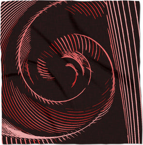 Red spiral, abstraction, visual, optical illusion on black fabric canvas bandana