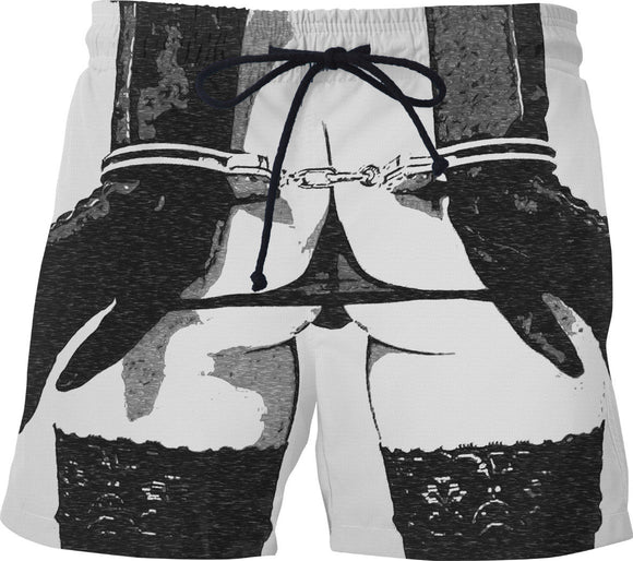 Dirty swim shorts, sexy cuffed girl, black and white erotic artwork, BDSM, slave girl fetish