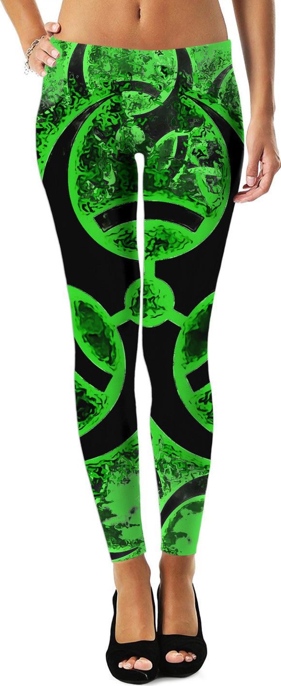 Green and black biohazard sign, bio waste, toxic fallout warning leggings