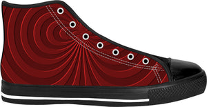 Trippy curves, spirals pattern, red on scarlet, geometric themed black high top shoes
