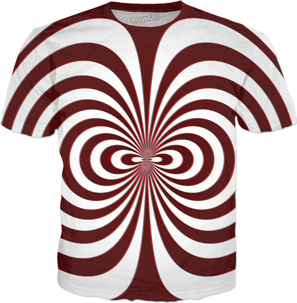 Trippy curves, spirals pattern, red on white, geometric themed all-over-print tee shirt