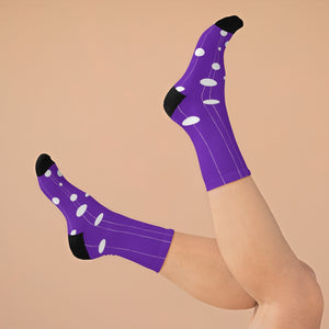 Tribe DTG Crew Socks - Stripes and dots at purple