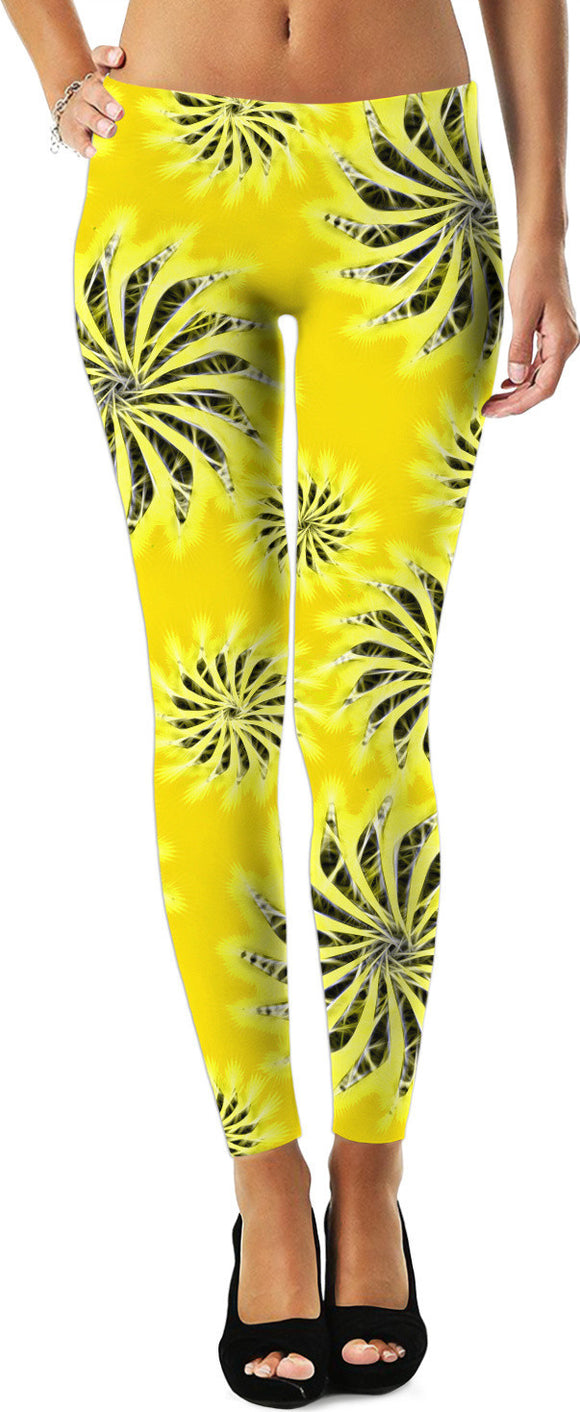 Silver spinning stars on yellow, abstract energetic pattern. Leggings