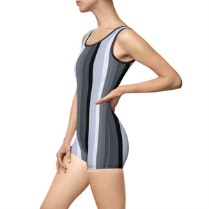 Women's Vintage Swimsuit - Graphite lines, silver, grey stripes pattern