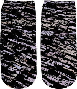 Straws, sticks, abstract pattern, desaturated purple, violet, yellow on black canvas fabric socks