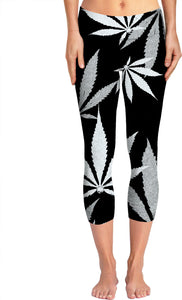 Ganja cut in Fabric silver and black pattern, cannabis leafs on dark fabric canvas yoga pants