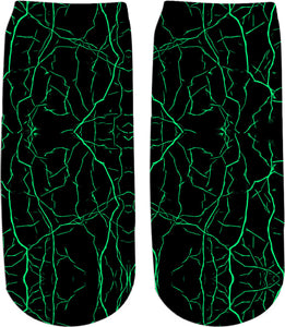 Green bolts, cracks on black sky pattern tee shirt design, abstract stripes, lines theme socks