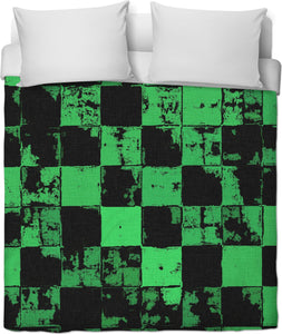 Grunge style duvet cover, bricks tiled pattern, black and green squares, worn out look