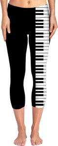 Don't you play with me! Music style yoga pants design, piano keyboard clipart