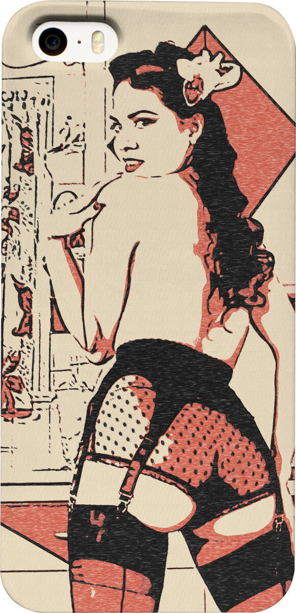 Vintage Pin-Up girl in sexy lingerie and stockings, erotic artwork phone cases