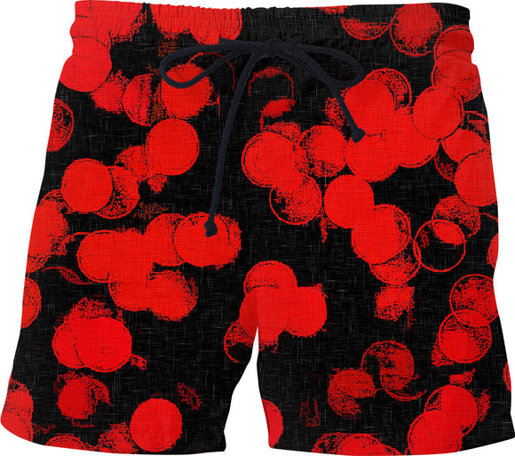 Red and black, abstract circles pattern, grunge swim shorts design