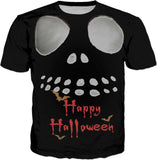 Happy Halloween Jack face tee shirt design, gray color demonic ghost, skeleton face, skull