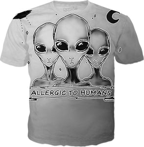 Funny Aliens, allergic to humans, gray extraterrestrials, ufo shirt design