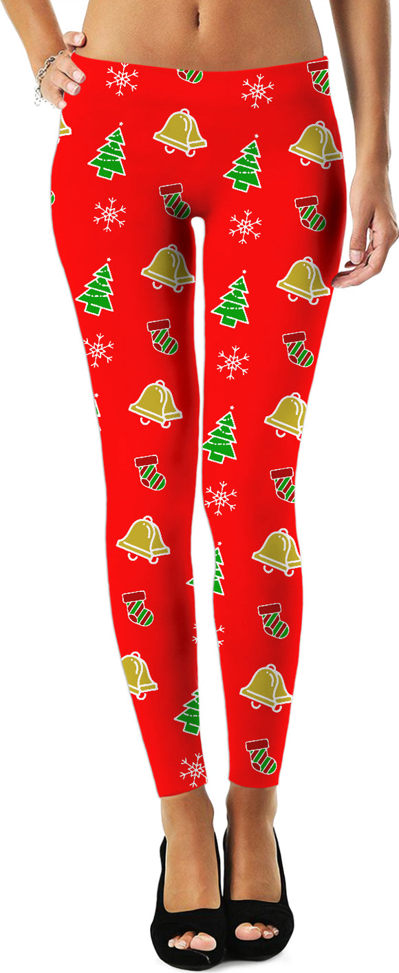 Merry Christmas pattern leggings, Holiday decoration themed, light red girls clothing