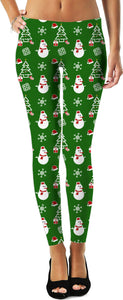 Merry Christmas pattern leggings, Holiday decoration themed, deep green color