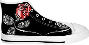 Silver, red and black vector roses, White high tops design, floral pattern shoes
