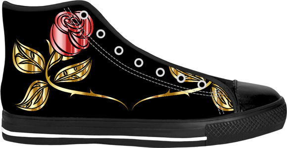 Gold, red and black vector roses, Black high tops design, floral pattern shoes