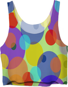 Pastel circles pattern crop top, mixed colors girls tank top design, color palette