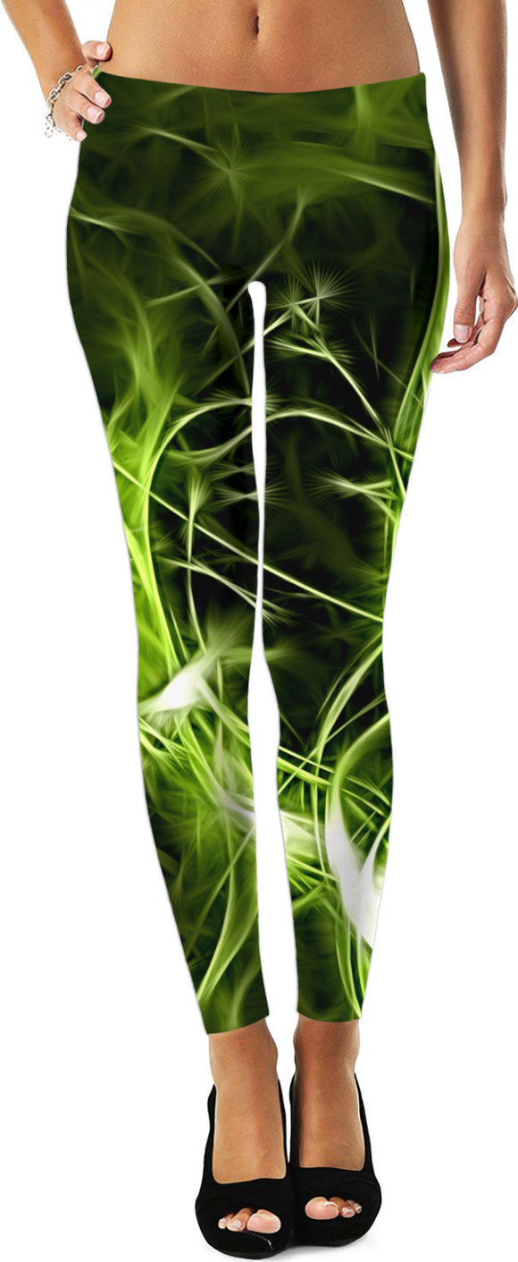 Green ectoplasm, abstract pattern, emerald color themed abstraction leggings