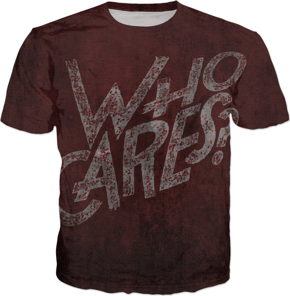 So... Who cares? Scarlet red, dark colors, wall art grafitti style tee shirt design