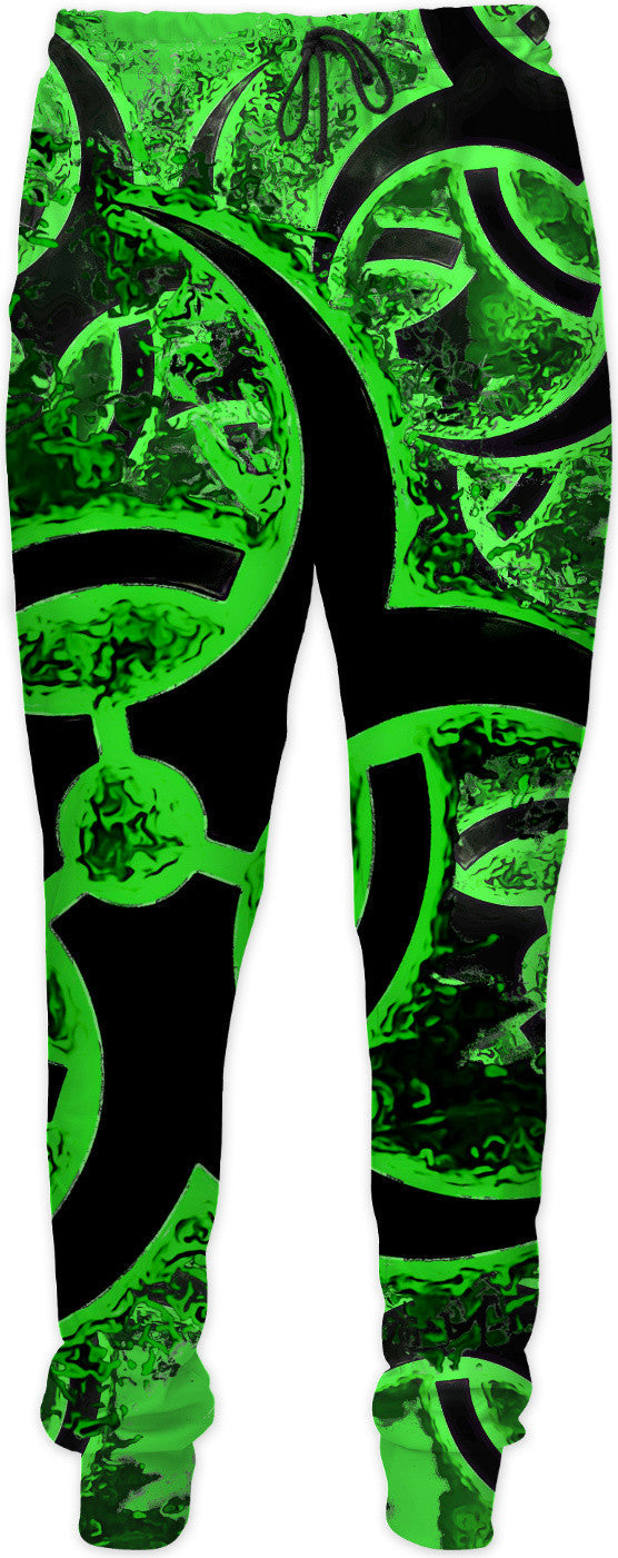 Green and black biohazard sign, bio waste, toxic fallout warning joggers