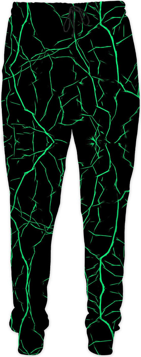 Green bolts, jolts pattern, thunder strikes on black, dark night sky theme joggers