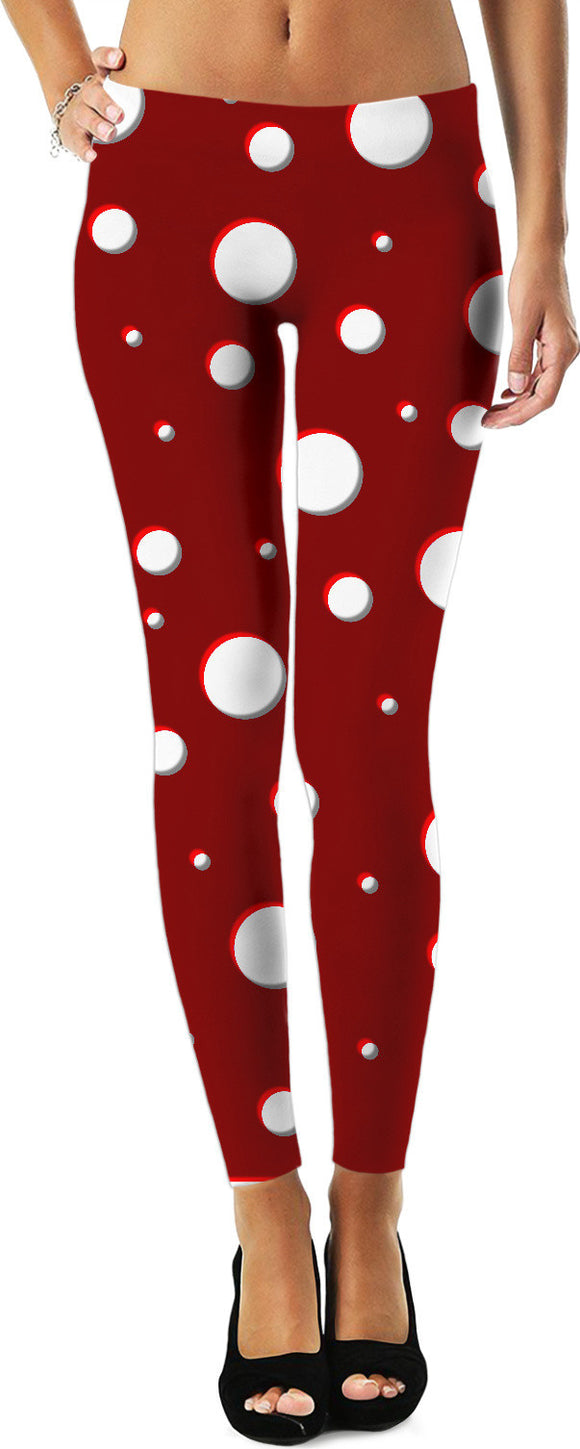 New mushroom pattern, classic polka dot, asymetric design, dark red, scarlet, white dots leggings