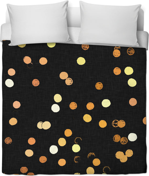 Dot lights on black, dark night background, glittering circles duvet
