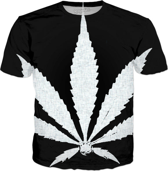 Large white ganja, weed, cannabis leaf on black, fabric canvas pattern, minimalist tee shirt design