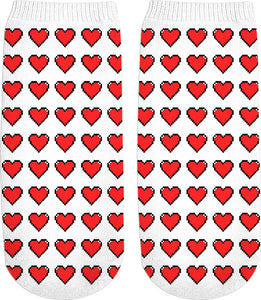 Pixel hearts pattern socks, white and red design