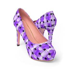 Women's Platform Heels - Dotted purple stripes, weaved pattern
