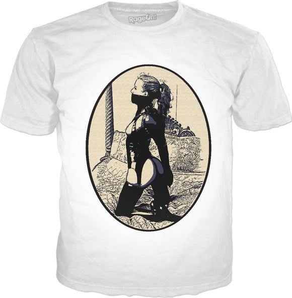 Kinky in Latex, cartoon BDSM erotic tee shirt, classic style white t-shirt