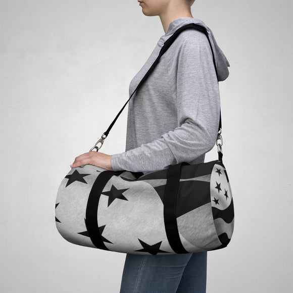 Sporty Duffle Bag - Stripes and stars, inverted colors patriotic