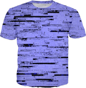 Purple and white bricks, lines pattern, old mural, wall theme tee shirt design.