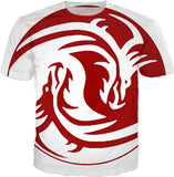 Yin and Yang red tribal dragons all-over-print, white tee shirt design