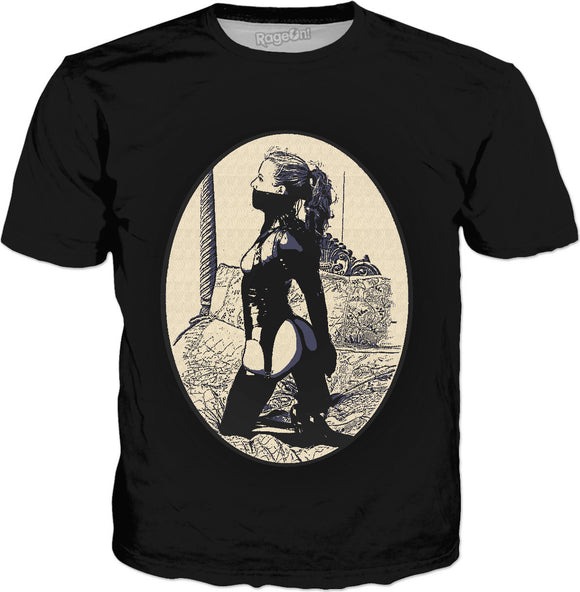Kinky in Latex, cartoon BDSM erotic tee shirt, classic style black t-shirt