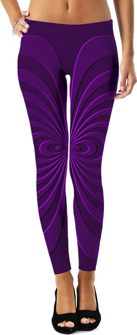 Trippy curves, spirals pattern, purple, violet colors, geometric themed leggings design