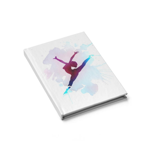 Hardcover Journal - Ruled Line - Ballet dancer, paint splash