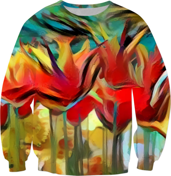 Red painted tulips, abstract floral themed sweatshirt, flowers in nature pattern