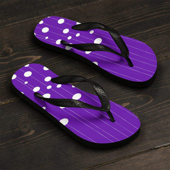 Unisex Flip-Flops - White dots on strings, purple, violet color