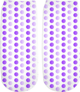 Purple, violet, two color tones polka dot pattern, classic, vintage pattern ankle socks design