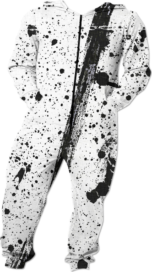 Ink stains on white fabric, black paint splashes grunge design, dark abstract lines onesie.