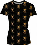 Nasty spiders pattern black girls fit t-shirt, insects themed women tee shirt design